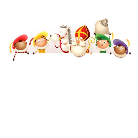 Sinterklaas jego konia Amerigo i pomocników na pokładzie - szczęśliwe słodkie postacie świętują holenderskie wakacje - wektor ilustracja na białym tle