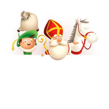 Cheval Saint Nicolas ou Sinterklaas et assistant Zwarte Piet à bord - personnages mignons heureux célèbrent la fête néerlandaise - illustration vectorielle isolée sur blanc