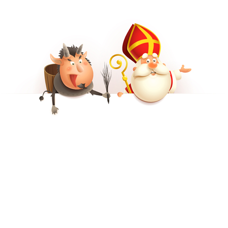 Nikolaus und Krampus an Bord - fröhliche süße Charaktere feiern Urlaub - Vektorillustration isoliert auf weiß Vektorgrafik