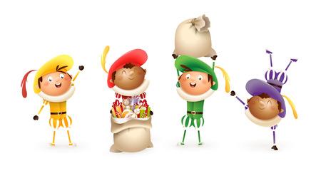 Sinterklaas of Sinterklaas helpers - gelukkig schattig kleurrijke Nederlandse traditionele karakters - Zwarte Piet vectorillustratie geïsoleerd op wit