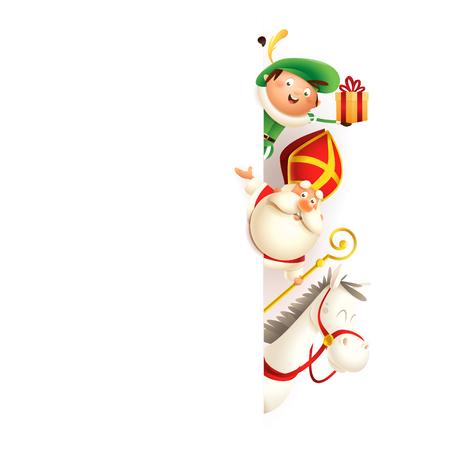 Sinterklaas of Sinterklaas paard Amerigo en Zwarte Piet aan de rechterkant van het bord - gelukkig schattig tekens vieren vakantie - vectorillustratie geïsoleerd op wit