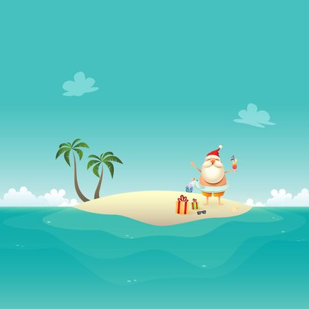 Santa Claus celebrate summer at sandy island with inflatable Unicorn swim ring - Christmas in June background Stock Illustratie