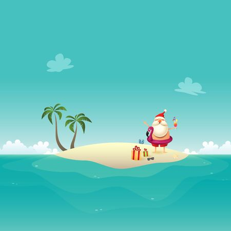 Santa Claus celebrate summer at sandy island - Christmas in June background