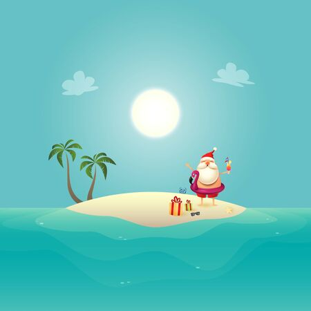 Santa Claus with inflatable swim float on siland celebrate summer - christmas in june