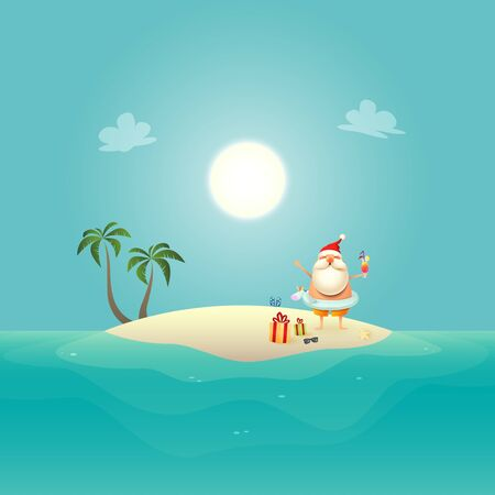 Santa Claus with Unicorn swim ring celebrate summer at sandy island - Christmas in June background Stock Illustratie