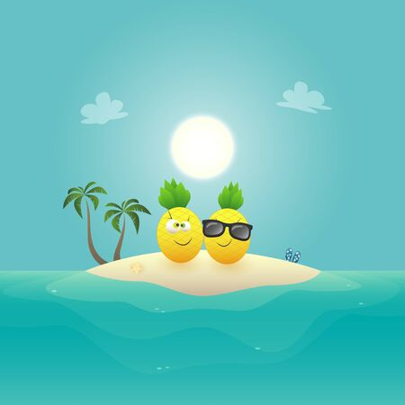 Lovely pineapples on sandy island at ocean - summer vector illustration Ilustrace