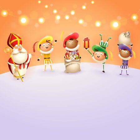 Saint Nicholas and Zwarte Piets celebrate Dutch holidays - orange background with lights - vector illustration