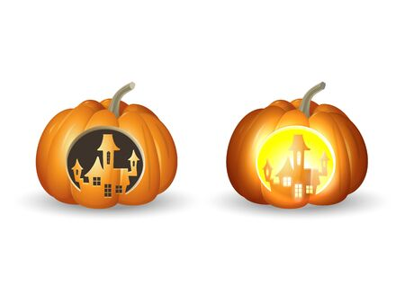 Halloween pumpkins Jack o lantern - carved castle shape with and without lights - vector illustration isolated on white background