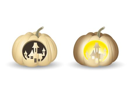 Halloween white pumpkins Jack o lantern - castle shape carved with and without lights - vector illustration isolated on white background Vectores