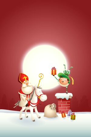 Saint Nicholas horse and helper Piet on chimney delivered gifts - happy cute characters celebrate holidays - vector illustration on red moonlight background