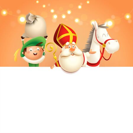 Saint Nicholas or Sinterklaas horse and helper on board - happy cute characters celebrate Dutch holiday - vector illustration on orange background with lights