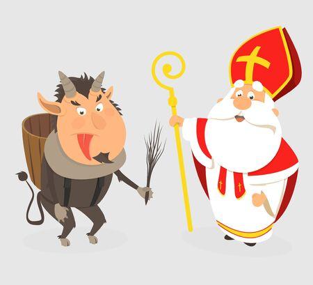 Title: Krampus and Saint Nicholas - cartoon style isolated - vector illustration Illustration