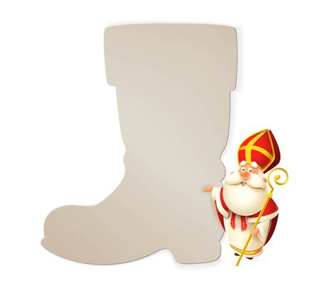 Saint Nicholas and boot poster template isolated on white background - vector illustration
