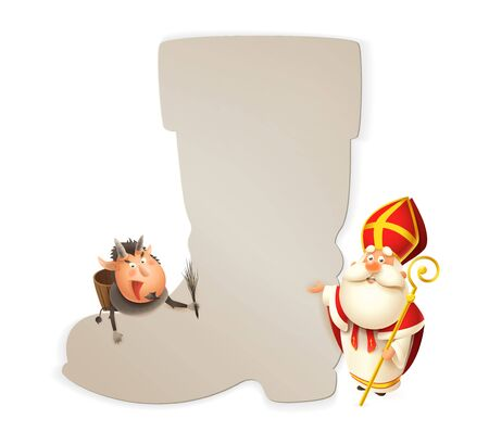 Saint Nicholas and Krampus with boot - poster template isolated on white background - vector illustration