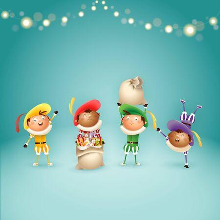 Vier Nederlandse Sinterklaashelpers Zwart Piets - vier feestdagen - vectorillustratie op turkooizen achtergrond met verlichting