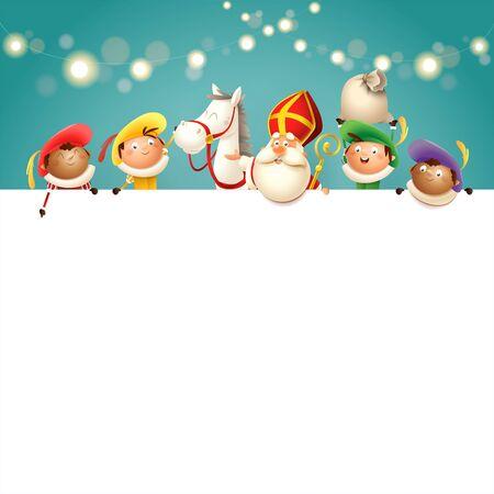 Święty Mikołaj jego koń i pomocnicy na pokładzie - szczęśliwe słodkie postacie świętują holenderskie wakacje - ilustracja wektorowa turkusowe tło ze światłami