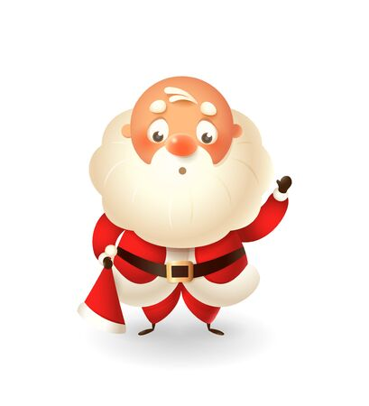 Cute Santa Claus without hat on his head isolated on white background celebrate Christmas - vector illustration