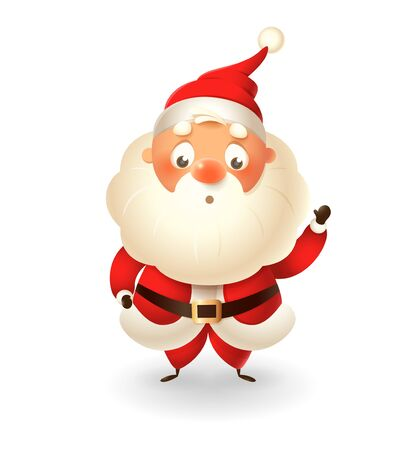 Cute Santa Claus isolated on white background celebrate Christmas - vector illustration