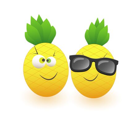 Two funny pineapples celebrate summer isolated on white background