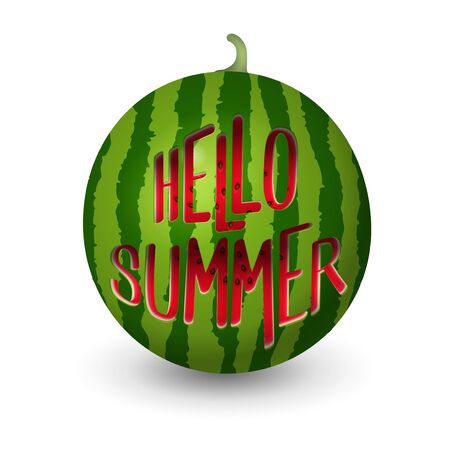 Realistic watermelon carved into summer symbol shapes text hello summer - vector illustration isolated on white background