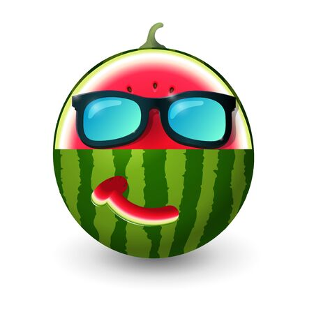 Watermelon carved into summer symbol shapes with sunglasses and smiling face - vector illustration isolated on white background