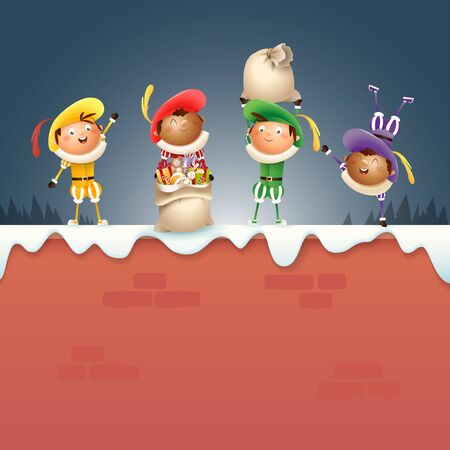 Four Dutch Sinterklaas helpers Zwart Piets - celebrate holidays on snowy wall - vector illustration Ilustrace