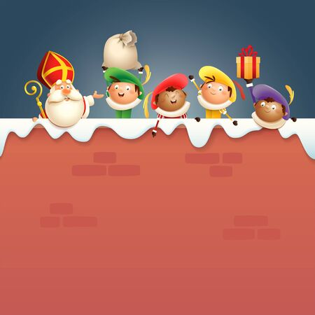 Saint Nicholas or Saint Nicholas and helpers Zwarte Piets on board - happy cute characters celebrate Dutch holidays on snowy wall - vector illustration