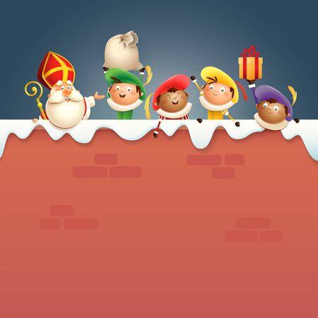 Sinterklaas of Sinterklaas en helpers Zwarte Piets aan boord - gelukkige schattige personages vieren Nederlandse feestdagen op besneeuwde muur - vectorillustratie