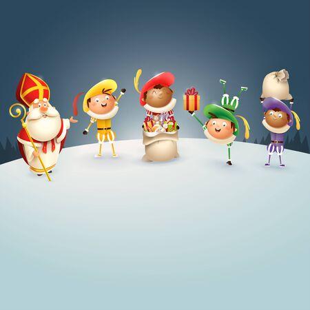Saint Nicholas and Zwarte Piets celebrate Dutch holidays at winter night - vector illustration