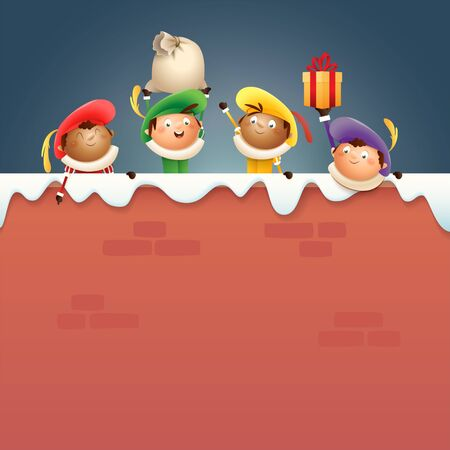 Sintrklaas helpers Zwarte Piet on board - happy cute characters celebrate Dutch holiday on snowy wall - vector illustration