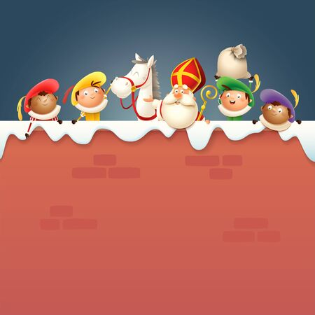 Saint Nicholas or Sinterklaas his horse and helpers Zwart Piet on board - happy cute characters celebrate Dutch holiday on snowy wall- vector illustration