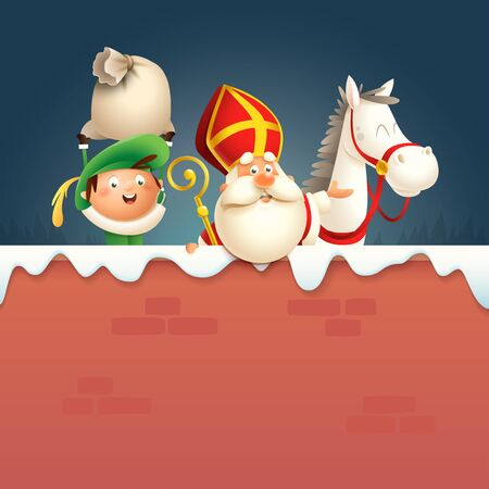Saint Nicholas or Sinterklaas horse and helper Pete on board - happy cute characters celebrate Dutch holiday on winter wall - vector illustration v Ilustrace
