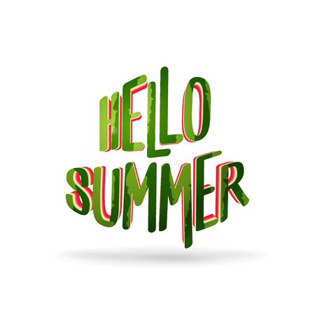 Hello summer - text cutting from watermelon - vector illustration isolated on white background Ilustrace