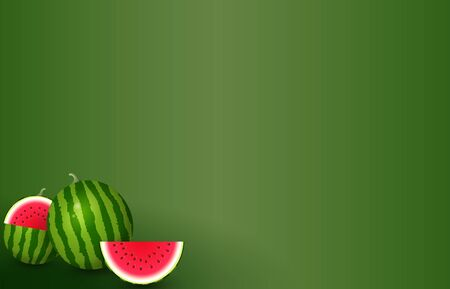 Realistic watermelons on green background - vector illustration