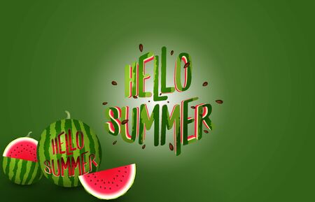 Hello summer banner - text cutting from realistic watermelon - vector illustration