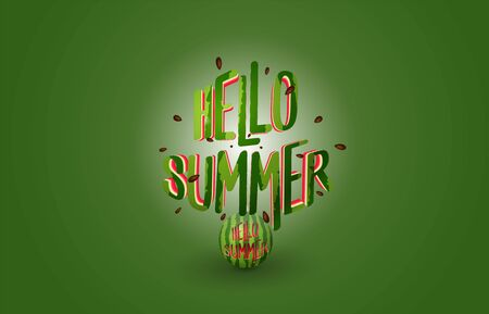 Hello summer text explode from watermelon - summer banner