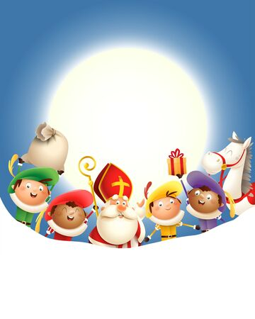 Sinterklaas Amerigo horse and Zwarte Piets celebrate holiday in front of moon - blue background with copy space Ilustrace