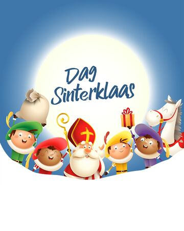 Saint Nicholas and his friends celebrate holiday in front of moon - text Dag Sinterklaas - blue background with copy space