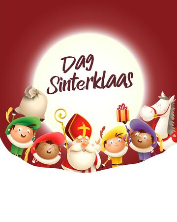 Saint Nicholas and his friends celebrate holiday in front of moon - Dag Sinterklaas - red background with copy space