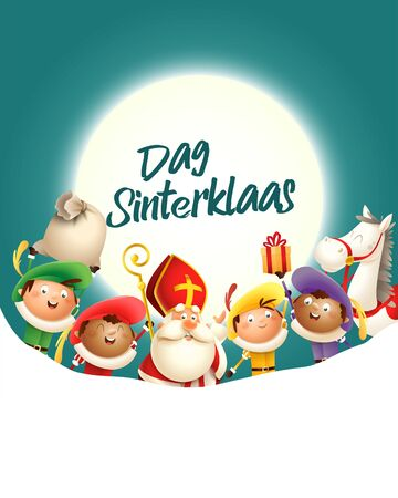 Saint Nicholas and his friends celebrate holiday in front of moon - Dag Sinterklaas - turquoise background with copy space