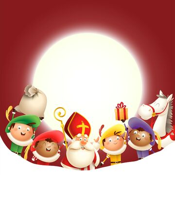 Saint Nicholas and his friends Zwarte Piets celebrate holiday in front of moon - red background with copy space