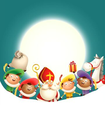 Saint Nicholas Sinterklaas and his friends Zwarte Piets celebrate holiday in front of moon - turquoise background with copy space