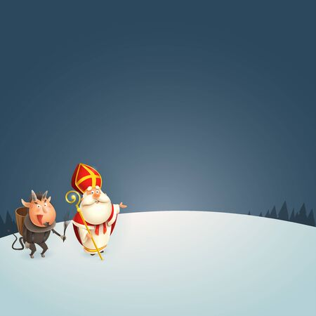 Saint Nicholas and Krampus at winter night presenting - vector illustration