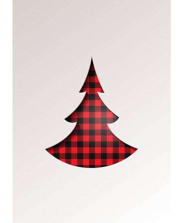 Paper cut style greeting card winter seasonal holidays - Christmas tree on tartan checkered plaid - vector illustration