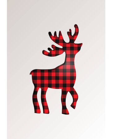 Paper cut style greeting card winter seasonal holidays - Reindeer on tartan checkered plaid - vector illustration