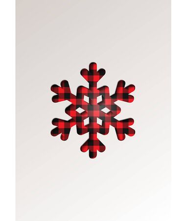Paper cut style greeting card winter seasonal holidays - Snowflake on tartan checkered plaid - vector illustration Ilustrace