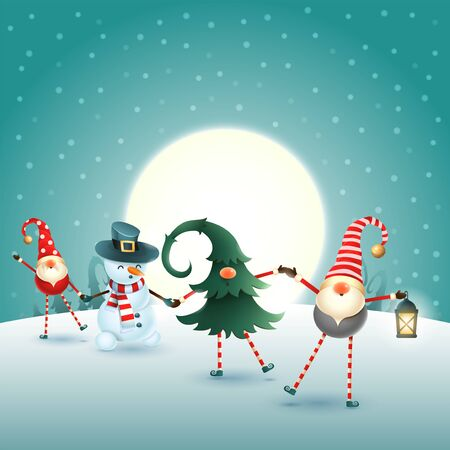 Christmas scandinavian gnomes and snowman on moonlight winter scene Ilustrace