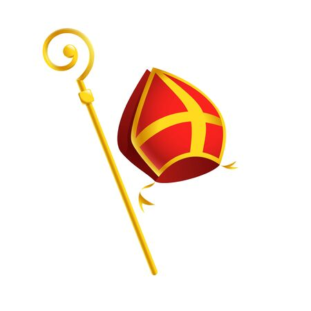 Saint Nicholas or Sinterklaas attributes mitre and golden crosier stick - isolated on white background