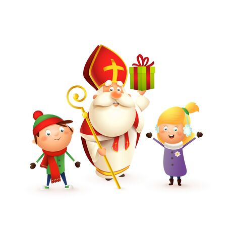 Saint Nicholas with kids girl and boy celebrate holidays - isolated on white background