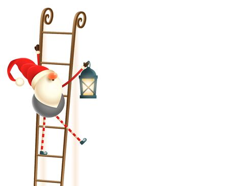 Scandinavian gnome on ladders with lantern - isolated on white background